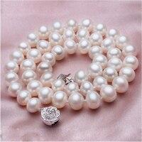Благородный Женщины подарок серебряные украшения застежка тонкая натуральная пресноводный жемчуг ожерелья белый натуральный жемчужные о