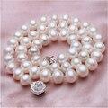Noble mujeres regalo de La Joyería Broche De Plata Fina real collares de perlas de agua dulce blanco de la perla natural collares regalos para las mujeres