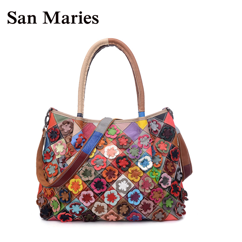 San Maries Brand Genuine Leather Women Handbag Colorful Cow leather Patchwork Shoulder Bag Fashion Flowers Women