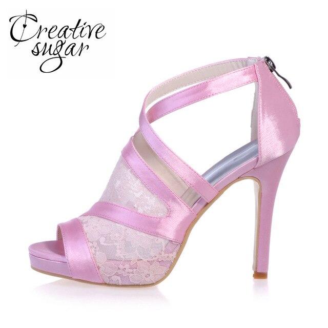 Creativesugr Doce sandália cruzou cinta saltos plataforma Roma estilo ver através de rendas e cetim shoes rosa preto branco quinceanera