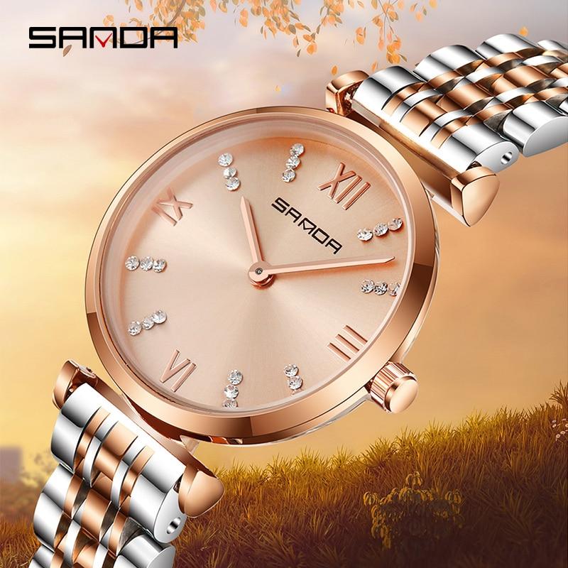 Uhren FäHig Sanda 235 Super Dünne Rose Gold Edelstahl Uhren Frauen Top Marke Luxus Casual Uhr Damen Armbanduhr Relogio Feminino Angenehm Bis Zum Gaumen