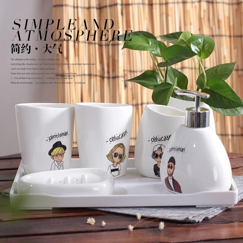 Caractère nordique salle de bains cinq ensembles Simple tasse en céramique savon plat Lotion bouteille créative salle de bains ensemble mariage Couple cadeaux - 3