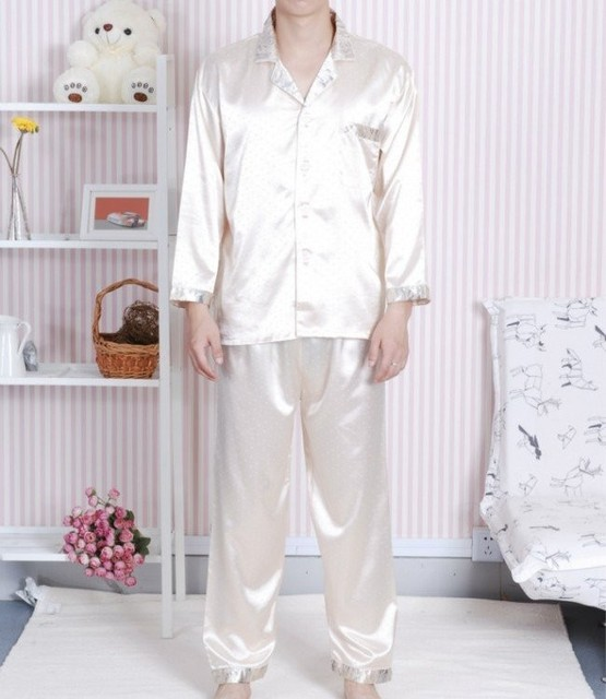 Light Gold Chinese Men's sleepwear Silk Rayon 2pc Nightwear Robe Pyjamas Sets Bath Gown L XL XXL SH0007