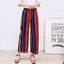 купить Women New Summer Wide Leg Pants Casual Loose High Elastic Waist Harem Pants Loose Chiffon Striped Elastic Office Trousers дешево