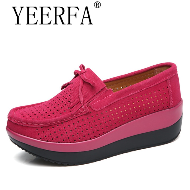 2018 spring women flats thick soled platform shoes   leather     suede   women casual sneakers fringe slip on shoes creepers