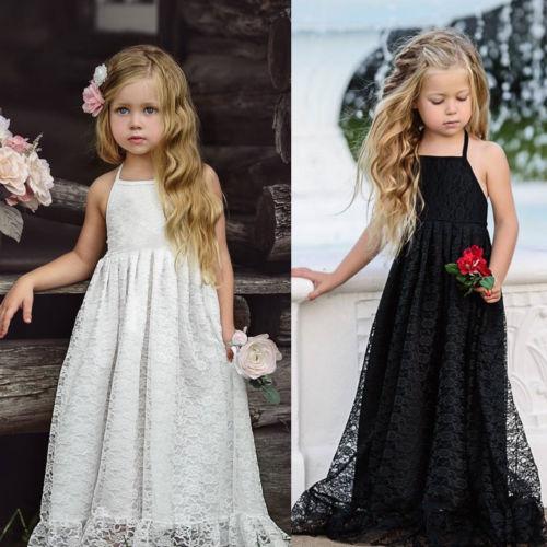 Toddler Kids Baby Girl Strap Floral Sleeveless Backless Princess A-Line Dresses