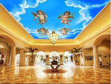 Free shopping 2015 new non-woven  Beautiful blue sky white clouds angel mural paintings hung ceilings