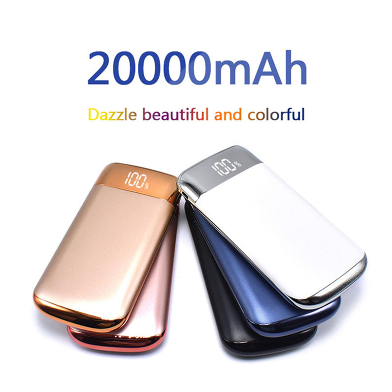 2018 New High Quality power bank 20000mah External Battery powerbank 2 USB LCD Portable 18650 power bank for iPhone X 87 Samsung