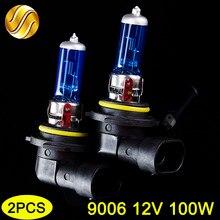 Hippcron 9006 hb4 12 v 100 w lâmpada de halogênio 2 pçs (1 par) lâmpada do farol carro super branco 5000 k quartzo vidro azul escuro