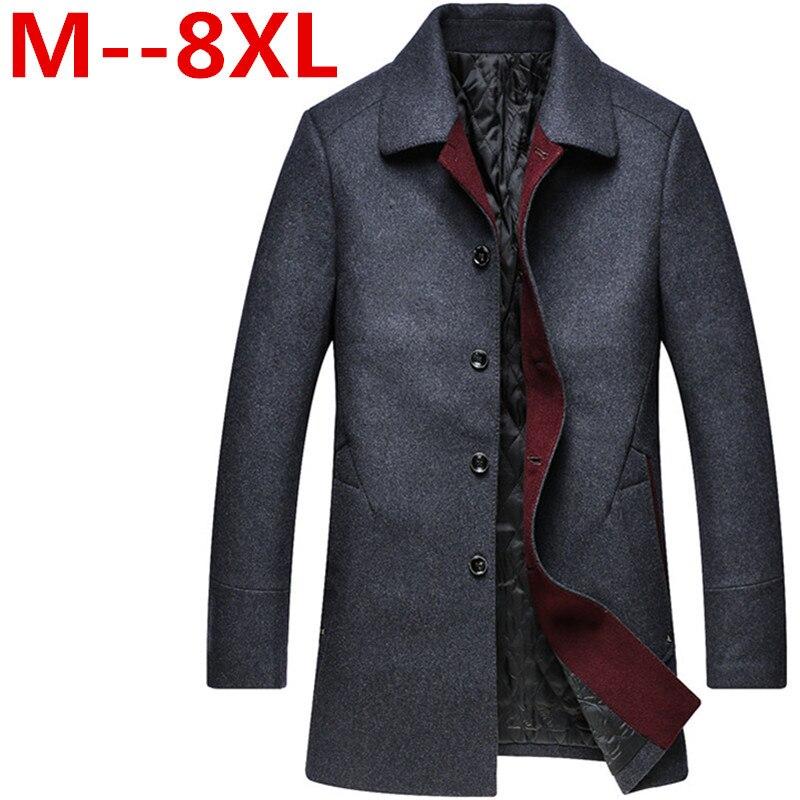 2018 8XL 6XL 5XL 4XL High grade New Fashion Brand Clothing Jacket Men Wool Coat Pea Coats Men Long Wool & Blends Winter Coat Men