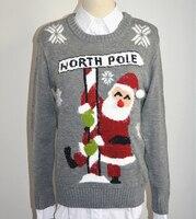 Suéter 2017 de La Moda de Invierno de Navidad para mujer de Las Señoras Jerseys de Cuello Redondo de Navidad Santa Claus Knitting Pattern Envío Gratis