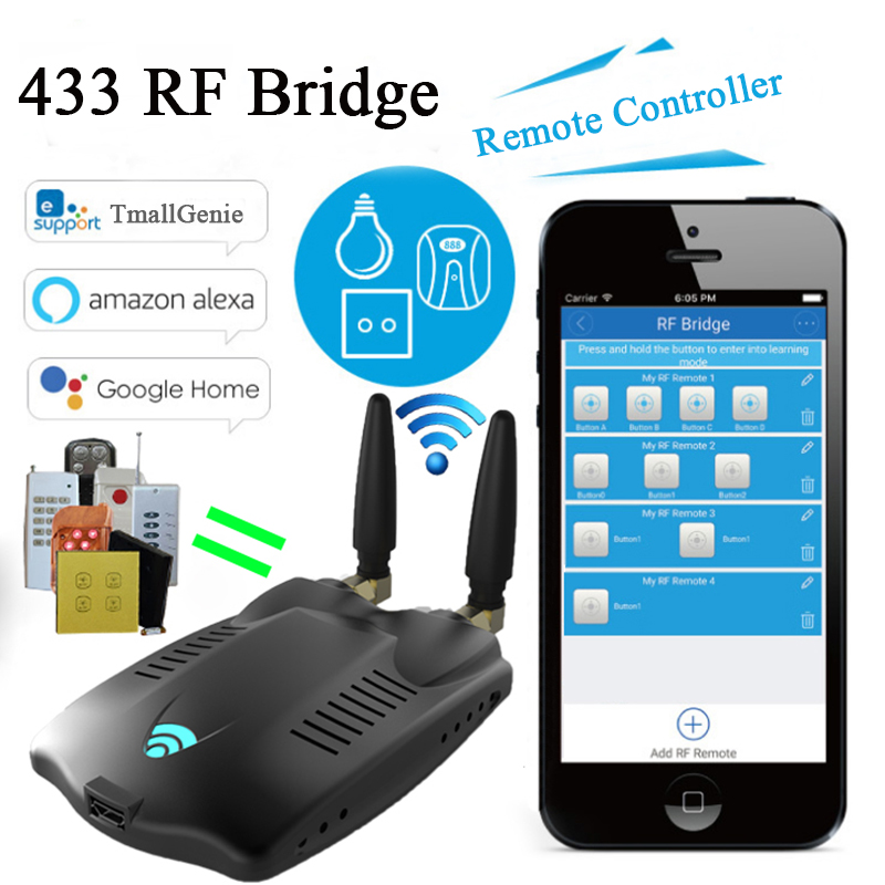 RF Bridge Wifi- 433 Wireless Smart Home Universal Curtain Blinds Garage Door Remote Controller, RF Bridge Roller Shutter Switch