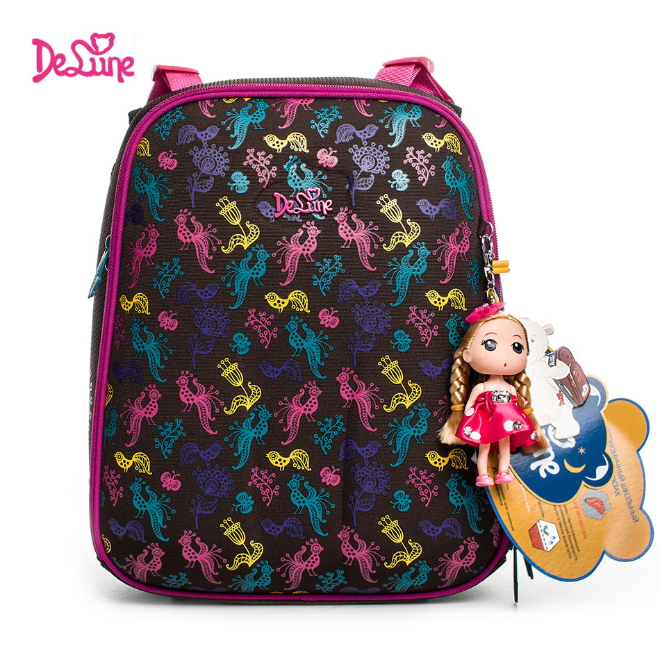 DELUNE Real Orthopedic Children School Bags for girls cartoon Waterproof  Backpack Kids Bag for Grade 1 3 Student mochila escolar-in School Bags from  Luggage ... d8b4e8029a133