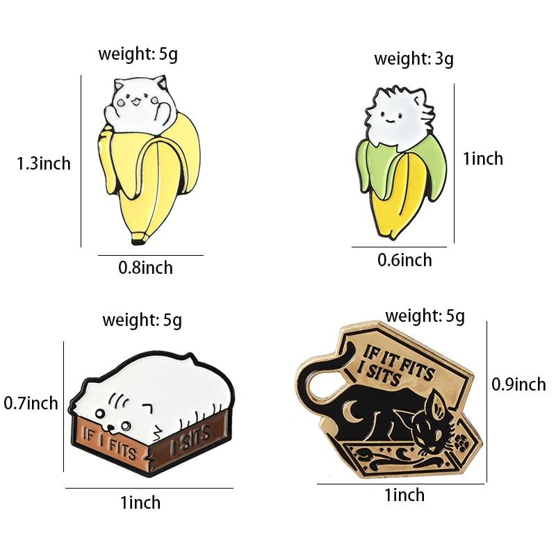 Cat Box Banana Kitten Enamel Pins Fun Animal Brooch e Denim Shirt Lapel Pin