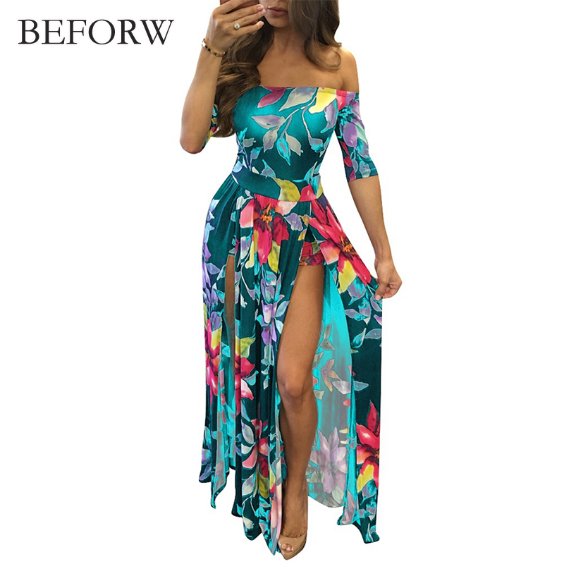 BEFORW Sexy Strapless Split Party Dresses Women Summer Printing Maxi Dress 2018 Fashion Casual High Waist Long Dress Vestidos