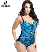 LE BESI 2016 One Piece Swimsuit Flower Printed Swimwear Women Underwire Push Up Monikini Halter Top Bathing Suit Plus Size 7XL
