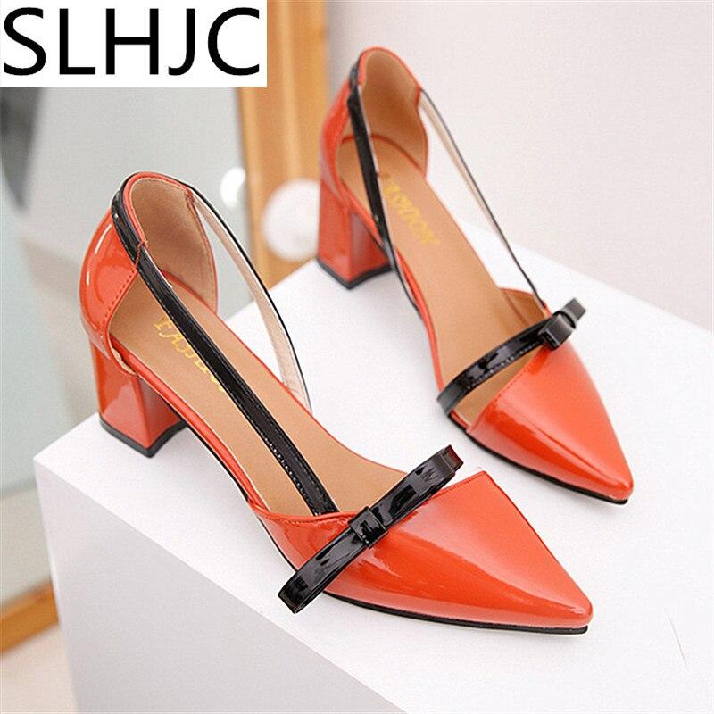 SLHJC Summer Fashion Rivet Pumps Pointed Toe High Heel Leather Sandals All Match Women Square Heel Shoes qfn 0808 01 adapter qfn8 d8 wson8 dip8 programming adapter dfn5x6a 8 test socket