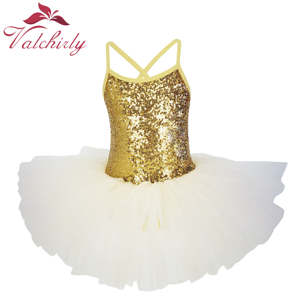 New Golden Ballerina Costume Sequins Ballet Dress Girls Dance Wear Tutu Ballet Leotard For Kids And Toddlers