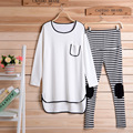 Maternity suits wholesale Spring and Autumn new large size women shirt + striped pants leisure sports suit pregnant women