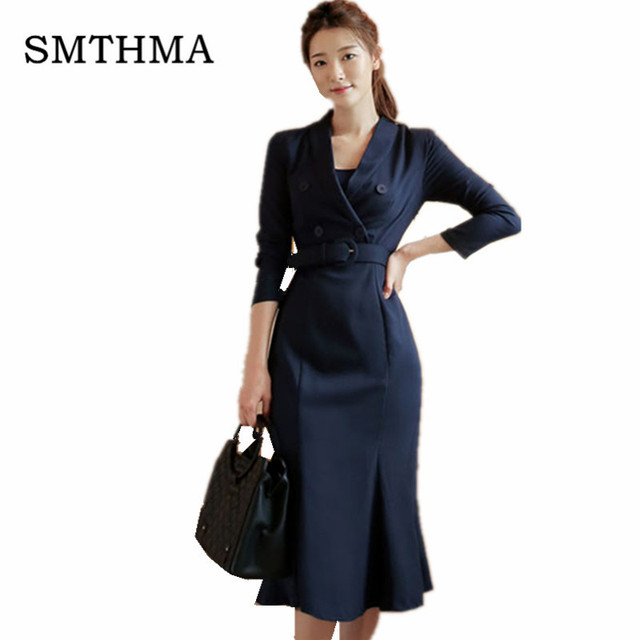 47f3b06e5a US $31.19 20% OFF|2019 autumn and winter New arrival Fashion Elegant Korea  Dress Women's Long Sleeve Double Breasted Notched Collar Dress vestidos-in  ...