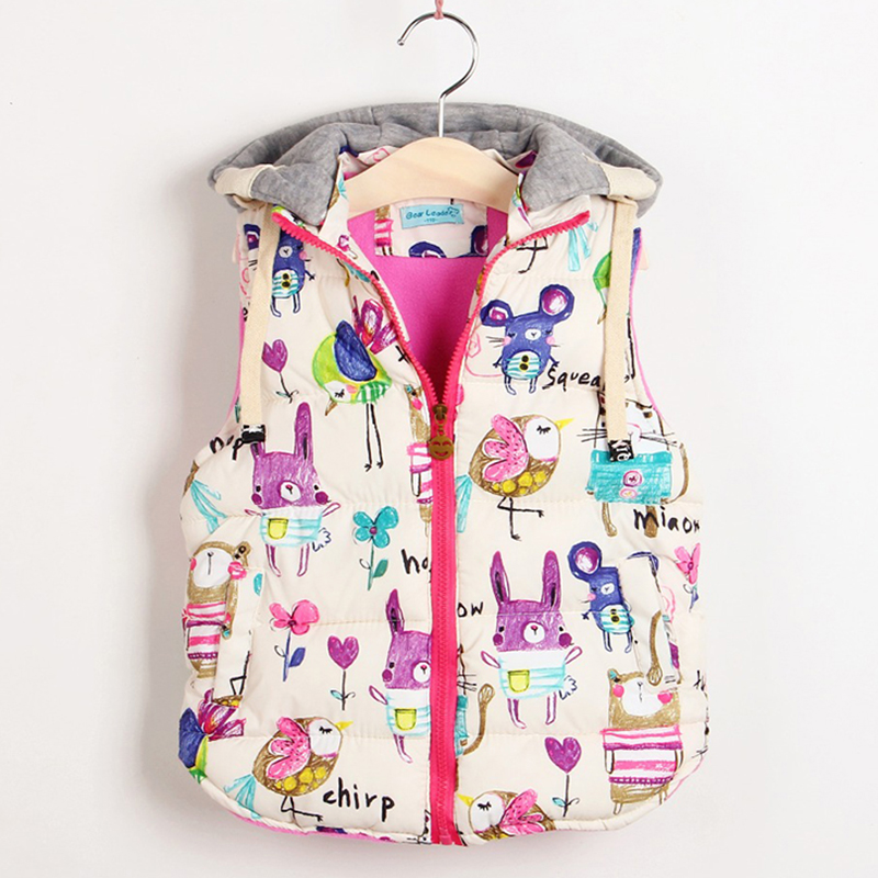 2018 Autumn Lovely Girls Outerwear Pattern Coats Length Jacket Cartoon Graffiti Hooded Coat for Kids Sleeveless Winter Vests mint green casual sleeveless hooded top