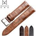MAIKES Nueva Llegada de Cuero Genuino reloj de los hombres de la correa 18mm 19mm 20mm 22mm De Alta Calidad Relojes mujeres de la venda