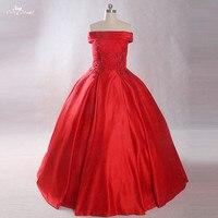 LZ227 реальное изображение Жемчуг Цветы Свадебные платья 2018 бальное платье красного цвета свадебное платье Праздничное платье Longo