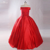 LZ227 Real Picture Pearls Flowers Bridal Dresses 2018 Ball Gown Red Wedding Dress Vestido De Festa Longo