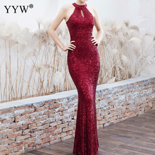 New 2019 Women Sequined Party Long Dresses Halter Sleeveless Mermaid E