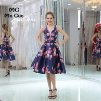 Floral Evening Party Dresses Dark Blue Cocktail Party Dresses Homecoming Dress Tank V Neck Print Pattern