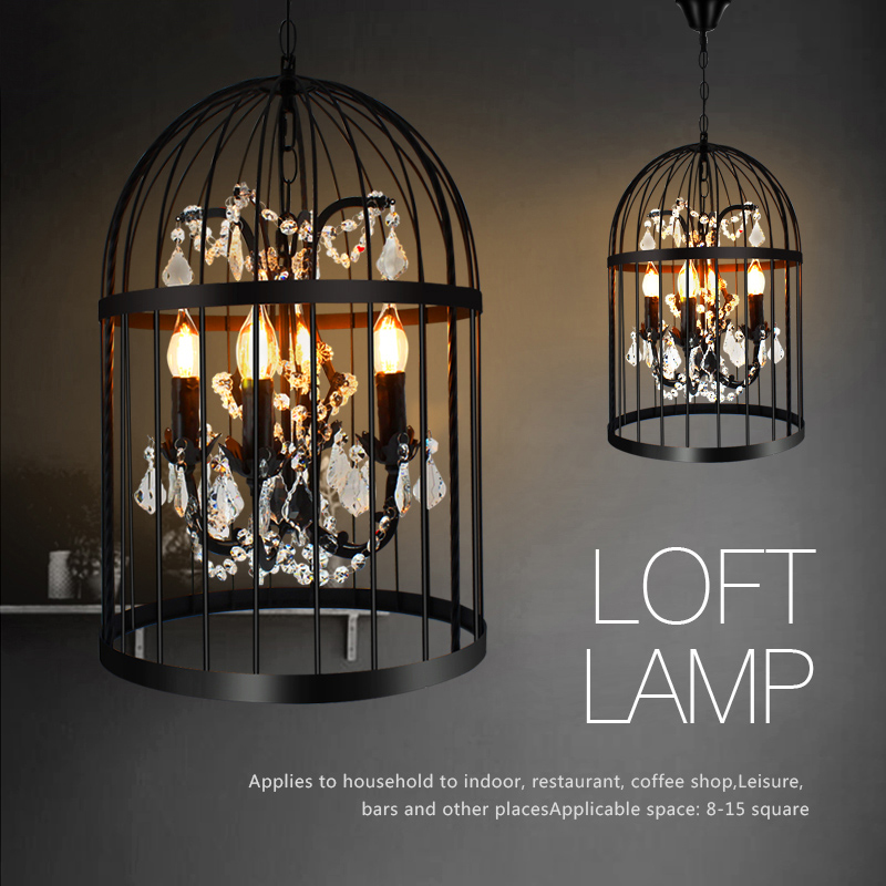 Bird Cage Crystal Pendant Light Nordic American Country Hanging Lamp Iron Lampshade E14 lamp Restaurant Bar Coffee Home Decor