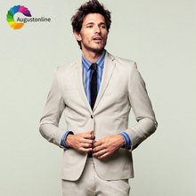 Slim Fit Beige Men Suit for Wedding Men Suits with Pants Custom Made Groom Tuxedo 2Piece Casual Best Man Blazer Masculino Jacket цена