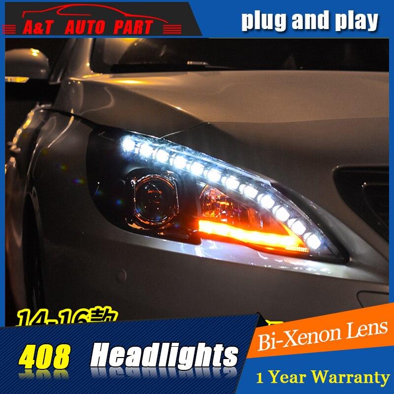 Car Styling For Peugeot 408 headlights For 408 LED head lamp Angel eye led DRL front light Bi-Xenon Lens xenon HID