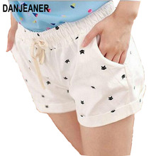 DANJEANER Free shipping 2018 New Summer Shorts With Cats Pattern High Waist Elastic Cotton Short Fresh Floral Women Shorts