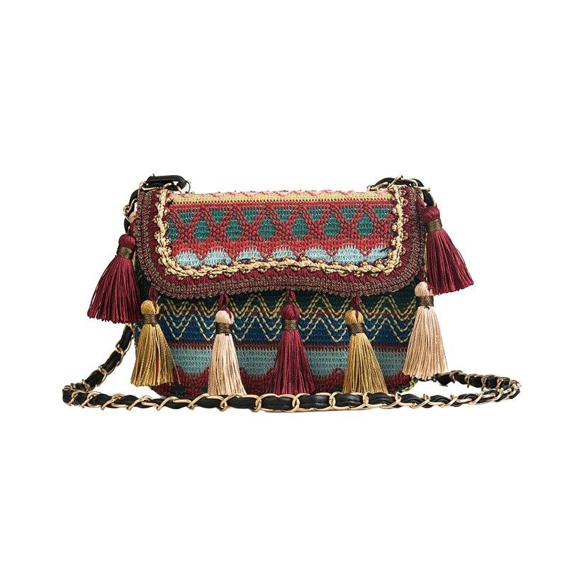 New Women Tassel Fashion Straw Bag INS Popular Female Summer Handbag Chains Lady Casual Shoulder Bag Beach Knit Crossbody SS3307 (7)