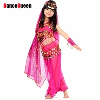 2015 Belly Dance Costumes For Kids 5 Pcs Top Skirt 2 Handwear Headwear Child Indian Clothes