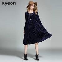 Ryeon Big Size Spring Winter Velvet Women Dresses Vintage A Line Solid Full Sleeve Pockets Casual