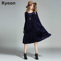 Ryeon Big Size Spring Winter Velvet Women Dresses Vintage A Line Solid Full Sleeve Pockets Casual