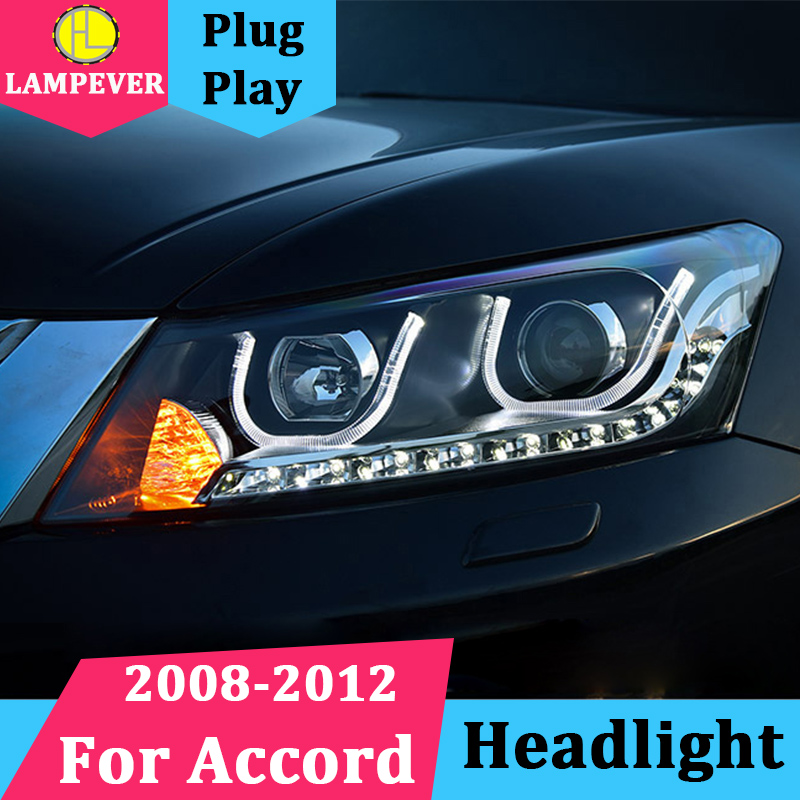 Headlamp For Honda Accord 8th Headlights Assembly 2008 2012 LED Headlight U Angel Eye LED Q5 Bi