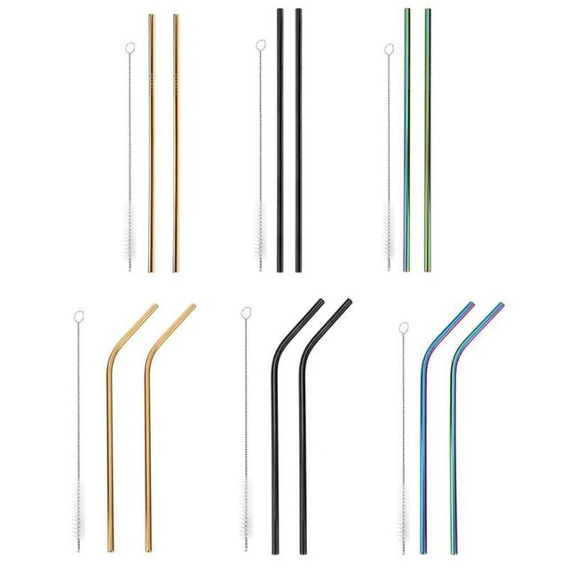 Metal Drinking Straws Reusable 3PCS Colorful Stainless Steel Straw+1 Brush Metal Drink Yerba Juice Bar Accessorie Party