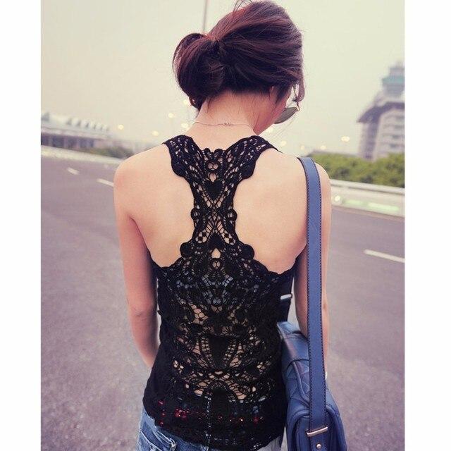 New Fashion Women's Sexy Lace Flower Tank Top Crochet Back Hollow-out Woman Vest Camisole Lace Vest