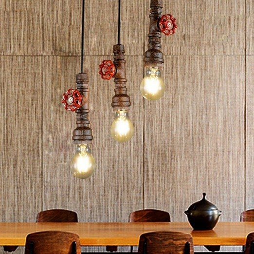 Loft style water pipe lamp edison pendant light fixtures vintage industrial lighting for dining room hanging