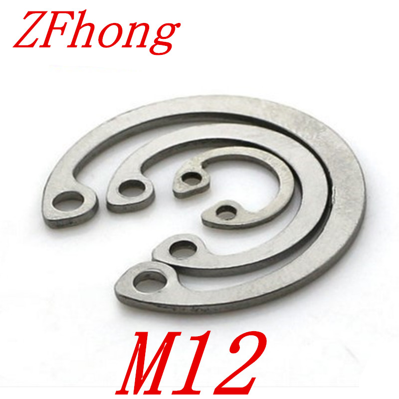 20pcs 304 Stainless Steel SS DIN472 M12 C Type Snap Retaining Ring For 12mm Internal Bore Circlip