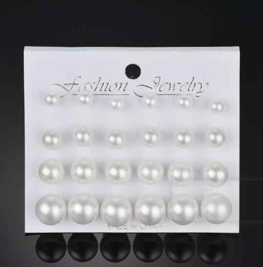 Exquisite Simulated-Pearl 12Pcs Set Stud  Earrings Trendy Women Rhinestone Brincos Earrings Bijoux Jewelry Gift E5298