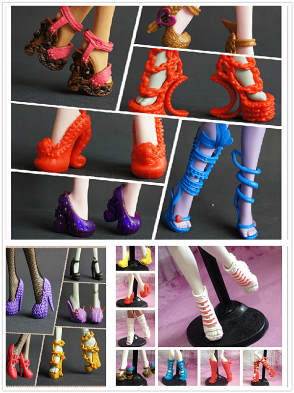 Big Wholesale 200Pairs lot Original Shoes For Monster Dolls 5Pairs bag Mixed Styles Boots Sandals Slippers