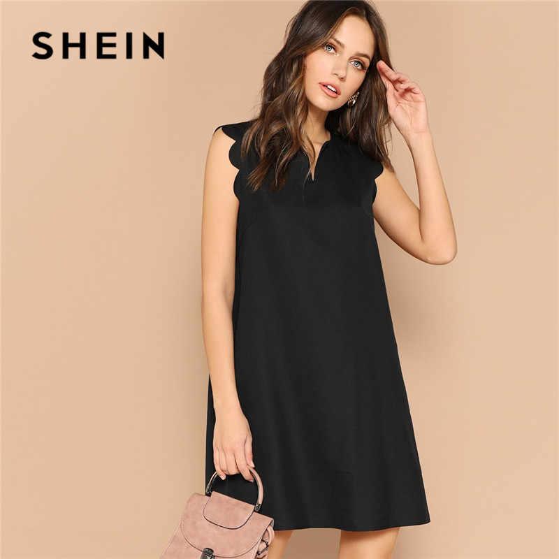 Шеин леди сплошной v-образным вырезом гребешок отделка трапециевидной формы мини платье женская одежда 2019 повседневное без рукавов свободное летнее платье