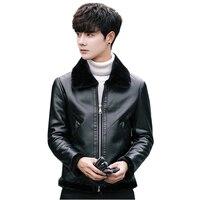 Winter Đen Men của Faux Leather Coats TRÁI ROM Hot New Thanh Niên Da xe gắn máy Áo Khoác Thời Trang Người Đàn Ông Giản Dị Slim coat Ấm S 3XL