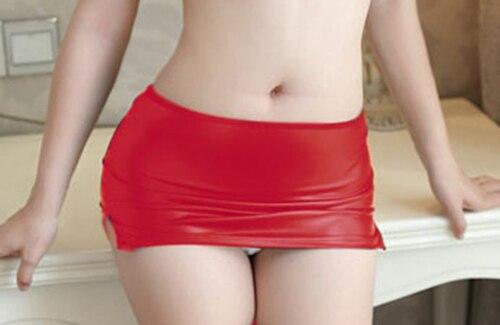 Сексуальная Женская искусственная кожа микро мини юбка бюстгальтер мокрого вида Клубная DS танцевальная одежда юбка фантазия эротическая одежда - Цвет: mini skirt