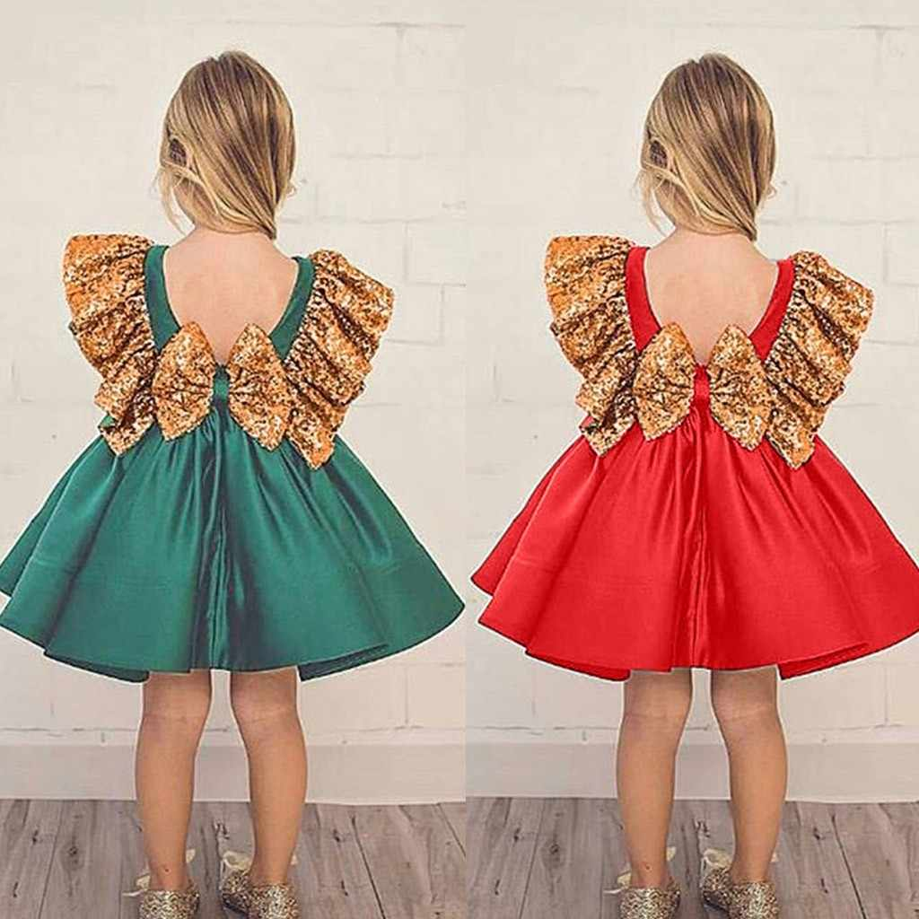 Princess Toddler Girl Dress Wedding Fancy Birthday Pageant Dress Sequins  Dress Backless Bow Dresses Girl Clothes 5468c51a77be