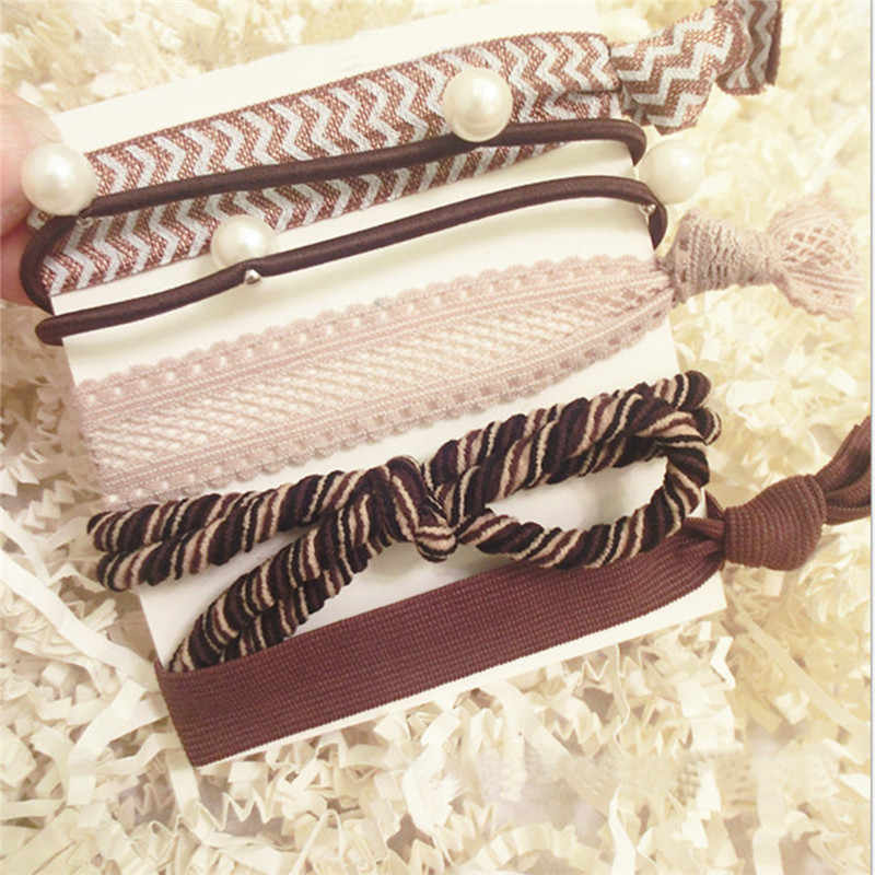 5 pièces solide dentelle tissu élastique bandes de cheveux Simple noeud femmes filles cheveux chouchous corde femelle élastique pour queue de cheval accessoires de cheveux